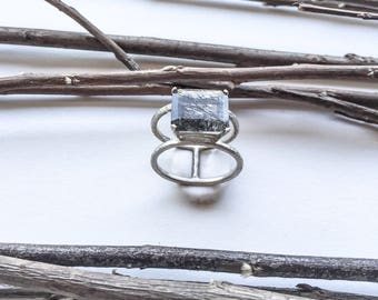 Black rutilated Quartz double banded hammerd sterling silver ring.