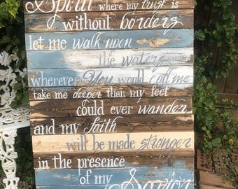 Spirit Lead me distressed sign