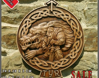 Tyr Fenrir Wolf Odin Viking Valhalla Home Decor Norse Thor Wood Picture Pagan Gods Carving Heathen Asatru Celtic Norse Rune Wall Hanging