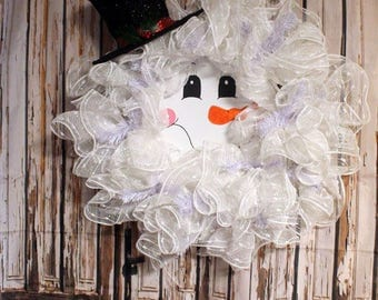 Snowman Decomesh Wreath with Handpainted Face,Winter wreath,Christmas wreath,Holiday