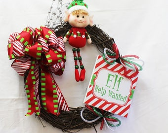 Elf Grapevine Wreath, Holiday Elf Wreath, Christmas Wreath, Grapevine Christmas Wreath,