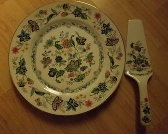 Lovely Andrea By Sadek Cake Platter,  Floral,  With Matching Server