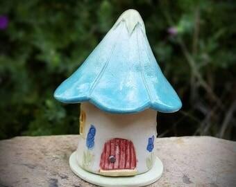 Pottery Fairy House, Blue Flower, Night Light, Fairy Garden