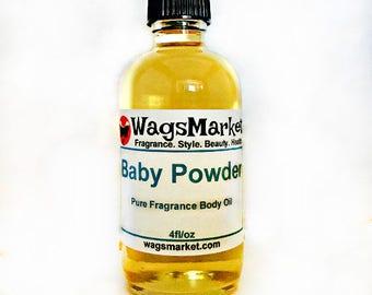 Baby Powder, Roll On Bottle, 1/3oz, 1oz, Pure Fragrance Body Oil