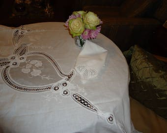 Vintage, Battenberg Lace White on White Applique and  Embroidered, Cotton , 66 inch by 102 inch, Tablecloth and 12 Napkins HANDMADE