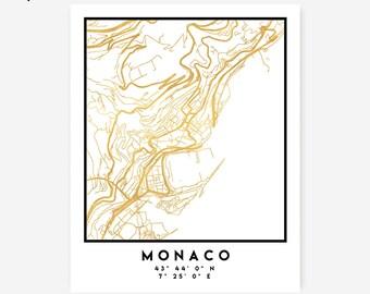 Monaco Map Coordinates Print - Monaco City Street Map Art Poster, Gold Monaco Map Print, Monaco Coordinates Royal Gold Poster Map