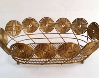 Vintage Brass Basket, Gold Oval Basket, Art Deco Style Basket, Storage Basket, Fruit Basket With Ball Feet, Gift Basket, Round Swirl Design