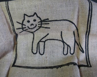 Vintage Rug Hooking Kit Folk Art Cat