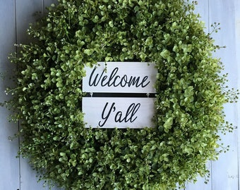 Wreath with Welcome Yall Wooden Door Hanger - Simply Southern Wreaths - Year Round Wreath - Summer Wreaths