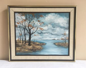 Original Oil Painting 16 x 20 Signed, 1970s Framed Oil Painting Beautiful Serene Landscape , Water Trees Grasses & Beautiful Cloudy Sky