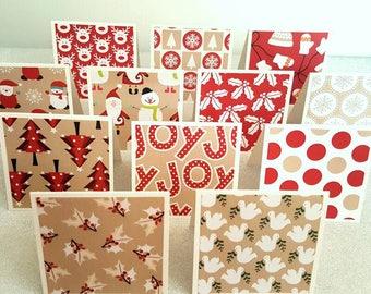 Red Christmas notecards / mini christmas thank you cards / mini christmas thank you notes / mini christmas thank you notecards set of 12