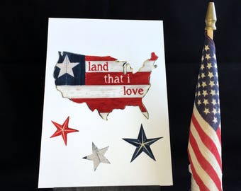 OOAK USA greeting card, handmade recycled fabric greeting card, Patriotic card, friendship card, Veterans card, blank card, United States
