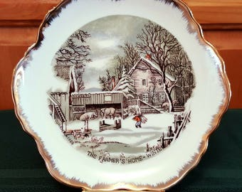 """Currier & Ives Collector Plate, The Farmer's Home - Winter, 7"""" Plate, Porcelain, Farm Scene, Neutrals, Gold Trim"""