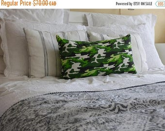 "Sale - 20% off all items. Fresh and bright camouflage rectangular 14"" X 24"" pillow cover in green, brown, white.  Playful and happy for a ch"