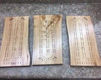 Live Edge Elm Cribbage Board