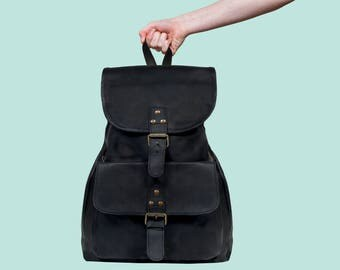 Black Leather Backpack Womens in Vintage Black by MAHI Leather