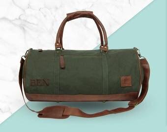 Canvas Leather Weekend Bag Overnight Bag Weekender in navy