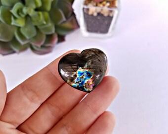 Carved Labradorite Crystal Heart