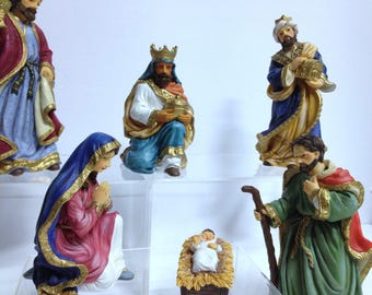 Vintage Avon Bethlehem Nativity Collection Baby Jesus Mary Joseph 3 Kings Balthasar Kaspar Melchior Nativity Fine Figurines Christmas Set