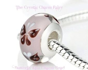 PINK BUTTERFLY KISS Charm Bead Handmade Lampwork Murano Glass Fits / European Beads / Pandora / Large Hole / Bracelets