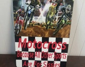 Motocross Racer, Decorative Wall Signs, Motorcycle Racing Aluminum  EvilGrinGifts Custom Printed Gifts with a Twisted Sense of Humor
