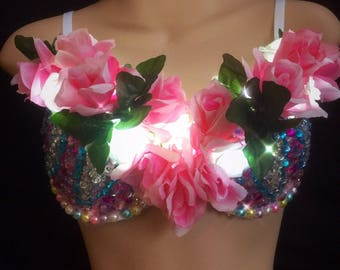 Designer LED light up flower Nymph Rave Bra 34c  Clubwear EDC Party