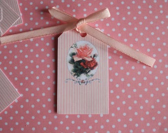 20 tags shabby roses chic pattern customizable