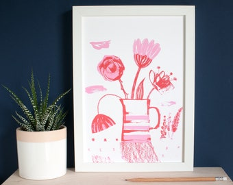 Floral art Print for a modern home, screen print wall art turned into a giclée print by inkpaintpaper, a garden still life floral with bird