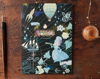 Notebook,dream planner,bon voyage,artjournal, stocking filler,gift for girls,gift for her,sketchbook,vintage style,celestial llustration, A5