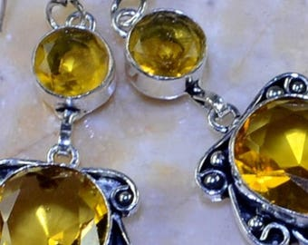 Citrine Silver Dangling Earrings
