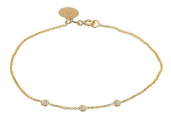 Tousi Jewelers Diamond Bracelet 0.15ct - Solid 14k Yellow Gold- Dainty and Simple Bezel Set- Free Personalized and Engraved Name and Initial