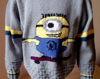 Boy sweater 116/122, 4-5 years fall / winter pattern cartoon / comics / cute