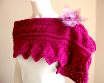 Short shawl, shawlette, heater shoulder lace, mohair, with flower brooch