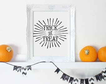 Halloween Decorations, Trick or Treat Sign, Halloween Prints, Halloween Decor, Halloween Party Decor, Fall Decor, Halloween Poster