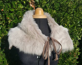 unique toscana lambskin fur shearling shrug scarf wrap beige grey winter white leather suede luxury unique warm cosy