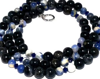 Blue & black long necklace; Natural gemstones bead necklace; Petrified wood, sodalite; Swarovski sapphire crystals; Gift from Seattle;
