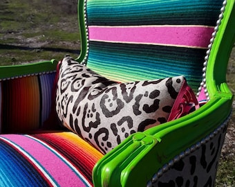 Made to Order** Custom Pink and Green Serape and Leopard Print Cowhide Chair