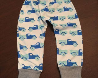 Organic Cotton Baby Clothes Handmade Antique Trucks Pants Leggings pants size 2