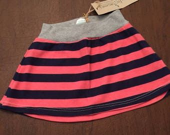 Organic Cotton Baby Clothes Handmade Cream with Pink and Blue Stripe Skirt 9-12mo