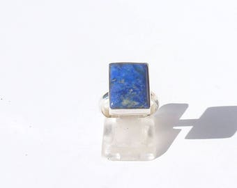 Ring LAPIS LAZULI size 50 crimped closed rectangle Silver 925 ring blue stone lucky designer silver jewellery 925 gemstone