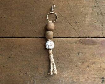 Stained Wood and Chippy White Keychain