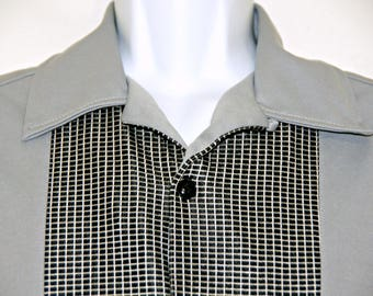 BC Ethic USA Deluxe Bowling Shirt, Short Sleeve, Gray, Checkerboard, Button Down, Mens Size L, Rockabilly, Casual Friday, Geek Nerd Style