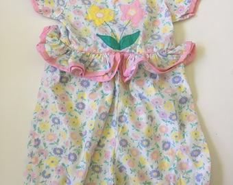 Vintage Floral Shorts Romper One Piece Girls 2T 3T