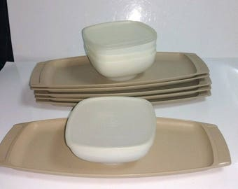 12 Pc Vintage Tupperware Serve-Ette Chip Dip/Relish/Snack Tray #771 Lot  6 Beige Trays #771, 4 White Bowls #770, and 2 Sheer Lids/Seals #772