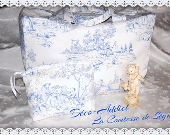 Bag travel French toile de Jouy and its matching pouch - white and blue sky - themed La Comtesse de Ségur