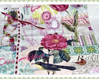 Lovely bag theme old Roses and birds - shabby - fabric designer pure cotton