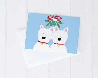 Greeting card, Christmas, dogs, mistletoe, west highland terrier, westie