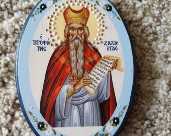 Prophet Zacharias Icon Colorful orthodox religious Icon,  oval wall hanging, hand painted