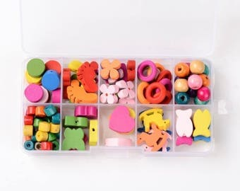 Mixed lot of wooden beads multicolor for creative kids