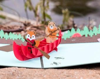 Canoe Card, 3D Canoe Card, Canoe Pop Up Card, Outdoorsman, Outdoors Card, Nature Lovers, Nature Lover Card, Fun on the Water, Lovepop